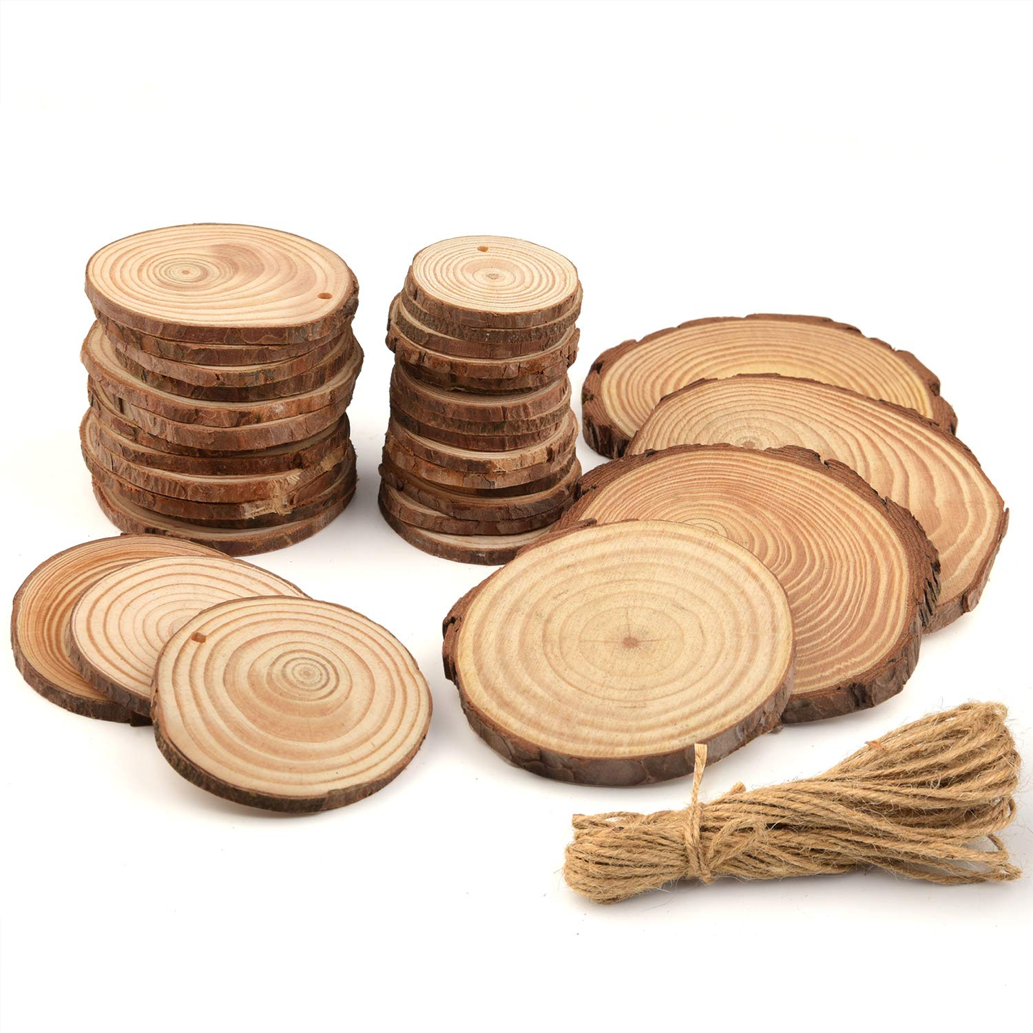 20Pcs Round Log Slices Discs Wooden Wood Crafts Centerpieces Wedding Decor RO