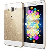 Samsung Galaxy A5 2015 Hülle Handyhülle von NICA, Glitzer Slim Hard-Case Back-Cover Schutzhülle, Handy-Tasche im Glitter Sparkle Design, Dünnes Bling Strass Etui Skin für Samsung-A5 2015 - Gold