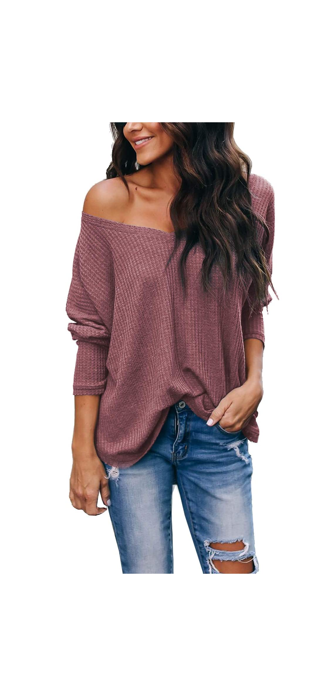 Women's Casual V-neck Off-shoulder Batwing Sleeve Tops