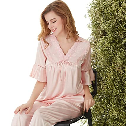 Smx Mujer Camisón de Satén Pijama Encaje/Suave/Cómodo/Sedoso/Encaje Satén