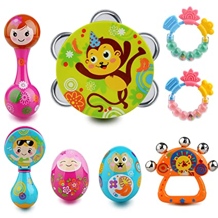 ea39f6a42 SELLBINDING Infant Toys Drum Set Baby Musical Instruments 8PCS - Toddlers Baby  Music Toys Timbrel Maracas Sand Eggs Shaker Hand Bells Bell Drum Baby  Rattle ...