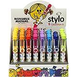 The Concept Factory Stylo 8 Couleurs - stylos à bille (Clip-on retractable ballpoint pen, Noir, Bleu, Vert, Orange, Rose, Violet, Rouge, Jaune, Multicolore, 17 mm, 22 mm, 140 mm)