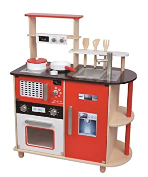 Lelin Wooden Childrens Pretend Play Modern Kitchen Cooking Toy With Pots U0026  Pans