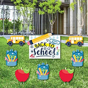 Big Dot of Happiness Back to School - Yard Sign and Outdoor Lawn Decorations - First Day of School Classroom Yard Signs - Set of 8