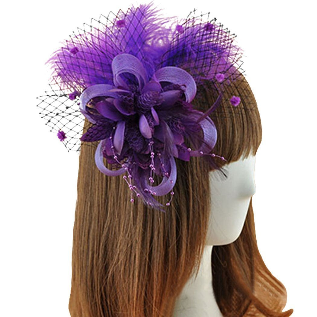 Coolr Fascinator Hair Clip Feather Wedding Headwear Bridal Headpiece for Women ( Purple)