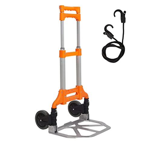 86524b48ff67 Lucky Tree Folding Hand Truck Aluminium Portable Dolly Cart with Wheels for  Office Travel Home Use 170lbs Capacity