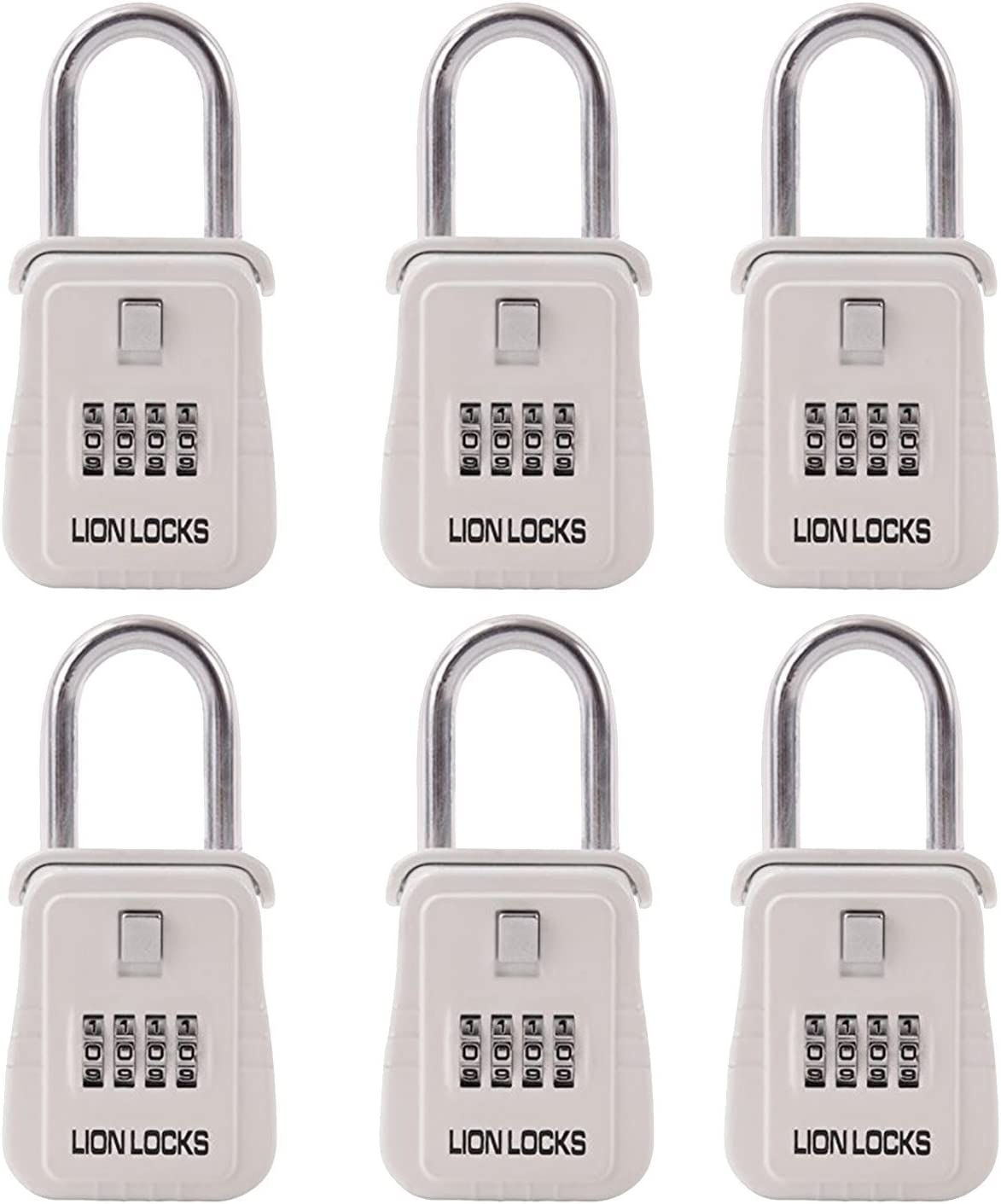 Lion Locks 1500 Key Storage Realtor Lock Box with Set-Your-Own Combination, (6 pack, White)