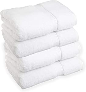 Premium Bamboo Cotton Towels- Set of 4. Super Soft and Absorbent Plus Mold and Mildew Resistant. 54 Inches Long by 27 Inches Wide. Easy to Wash and Dry.