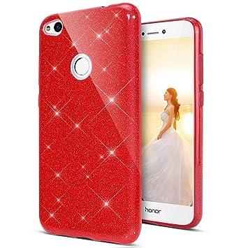 Coovertify Funda Purpurina Brillante Red Rose Huawei P8 Lite 2017, Carcasa roja Resistente de Gel Silicona con Brillo Rojo Rosa para Huawei P8 Lite ...