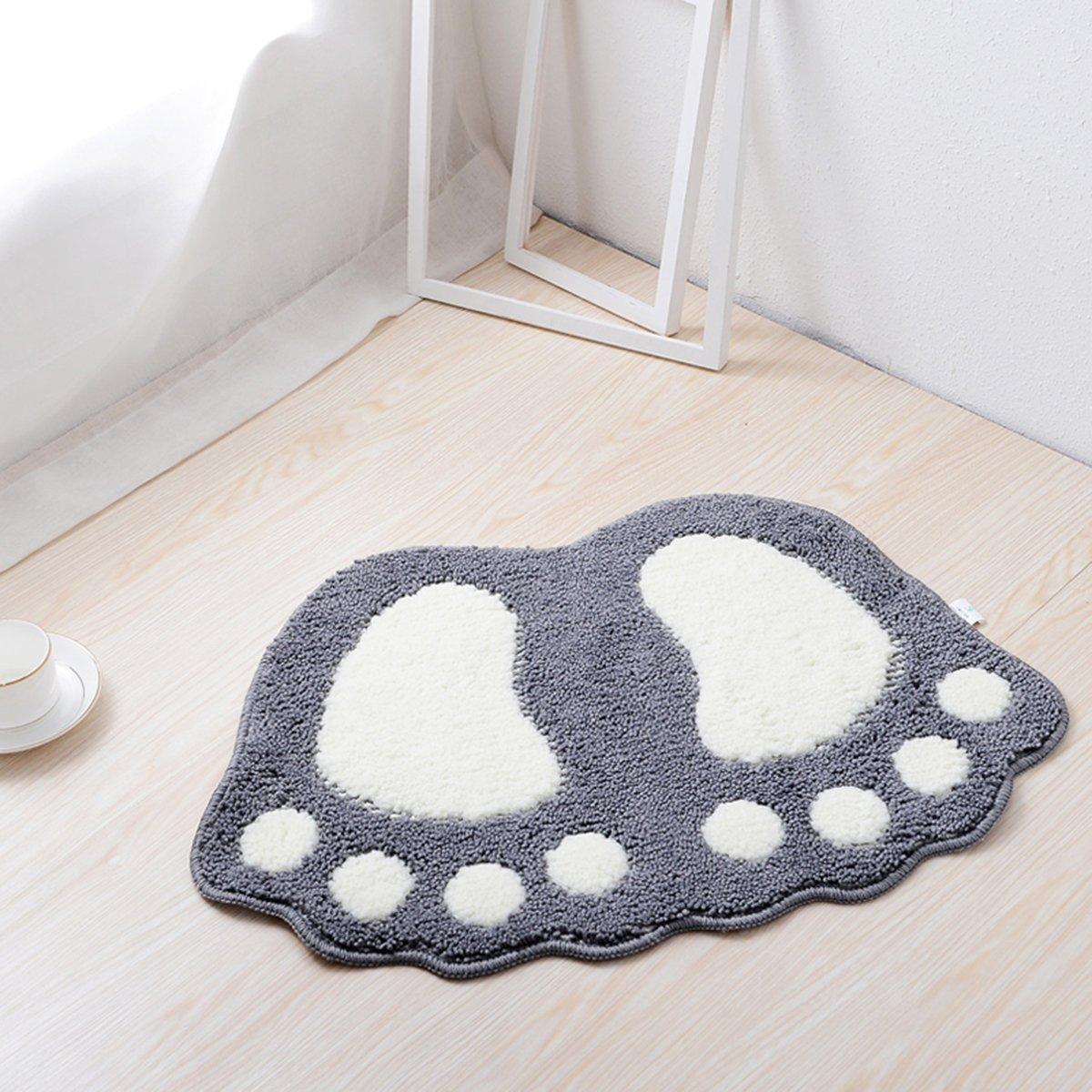HAPLOVE Big Feet Bath Toilet Mat Area Rugs Carpet Doormat Floor Mat Absorbent Mats Bathroom Rugs Bedroom Living Room Kitchen Foot Pad Rug-(Grey,19''X26'')