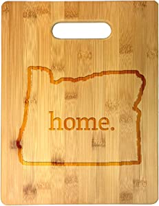 Home State Oregon Outline USA United States Laser Engraved Bamboo Cutting Board - Wedding, Housewarming, Anniversary, Birthday, Father's Day, Gift (Oregon)