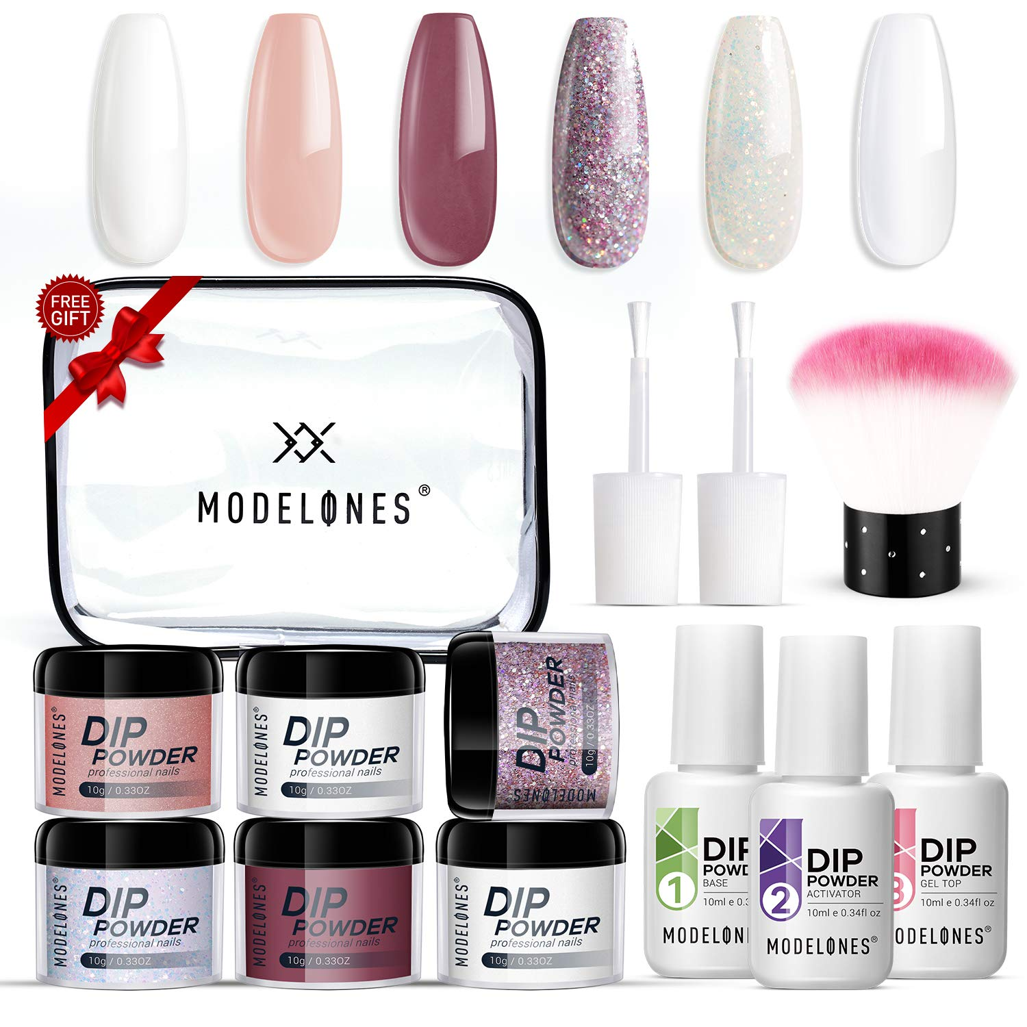 Dipping Powder Nail Kit with 6 Colors White Glitter,Dip Powder System Starter Nail Kit Acrylic Dipping System for French Nail Manicure nail art Set Essential kit,Portable Kit for Travel by modelones