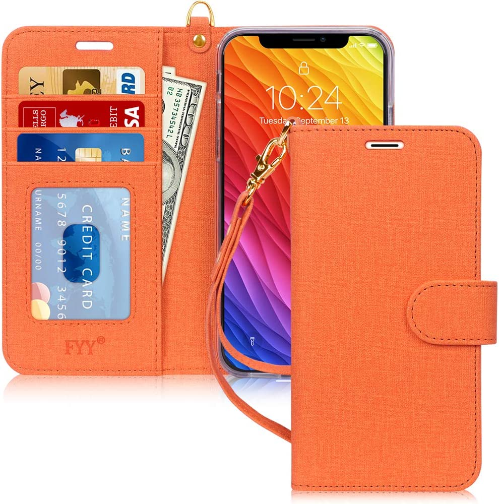 """FYY Luxury PU Leather Wallet Case for iPhone Xr (6.1"""") 2018, [Kickstand Feature] Flip Folio Case Cover with [Card Slots] and [Note Pockets] for Apple iPhone Xr (6.1"""") 2018 Orange"""