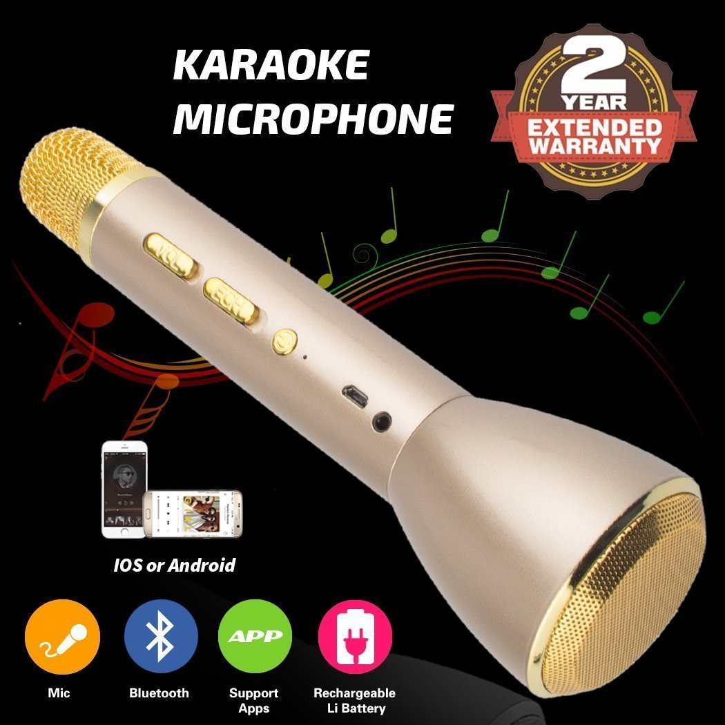 Wireless Karaoke Microphone, Handheld Bluetooth Speaker Player Recording Machines for Kids Adult Music Singing Playing, Home KTV Usb Karaoke System Support IPhone/Android/IOS/Smartphone