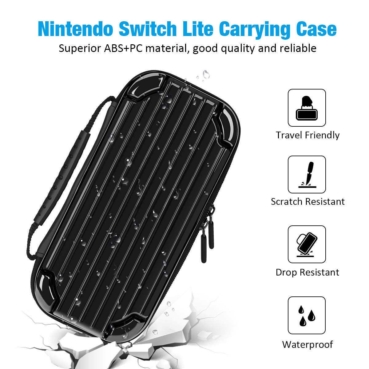 Carrying Case for Nintendo Switch Lite, Y Team Switch Lite Case with 10 Game Cartridge Storage Holders and 1 Tempered Screen Protector for Nintendo Switch Lite Console and Accessories (Black)