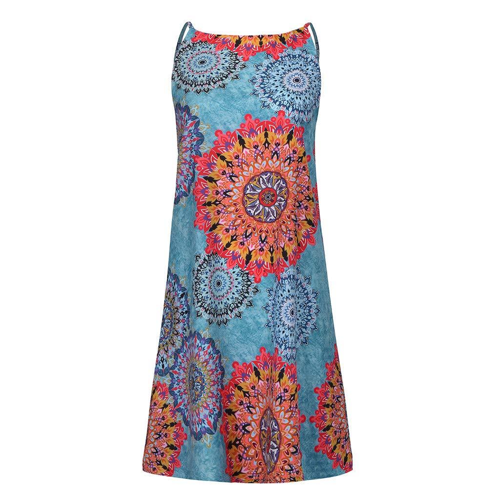 DOLDOA Womens Halter Dress Sale丨Summer Casual Sleeveless Boho Print Beach Mini Dress丨Loose T Shirt Dresses for Women