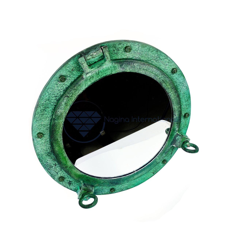 20'' Shipwrecked Premium Aluminum Antique Algae Green Porthole Mirror | Retirement Gift | Nagina International by Nagina International (Image #4)