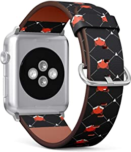 Compatible with Apple Watch 38mm & 40mm (Series 5, 4, 3, 2, 1) Leather Watch Wrist Band Strap Bracelet with Stainless Steel Clasp and Adapters (Cute Foxes)