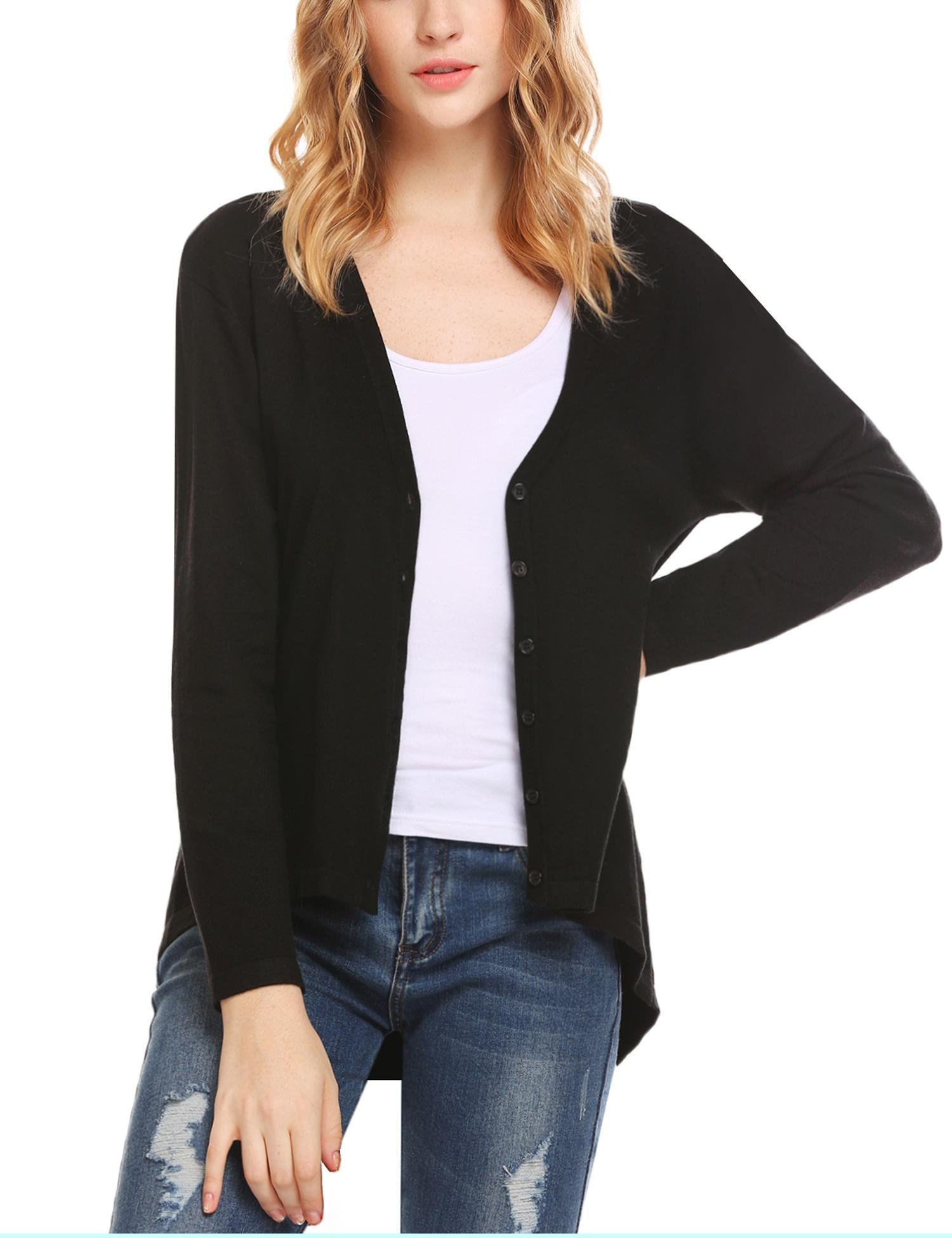 Zeagoo Women's Comfy Button Down Long Sleeve Basic Knitted Cardigan Sweater Business Casual Loose 2X Cardigan (Black L)