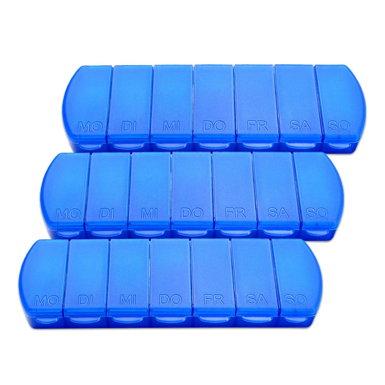Schramm Lot DE 3 Boî tes Bleu 11 x 4 x 1, 5 cm Pilules Pilulier 7 Jours Boî te Lot de Tablette Boî te Comprimé s piluliers Boî tes Pilules Comprimé s Boî te