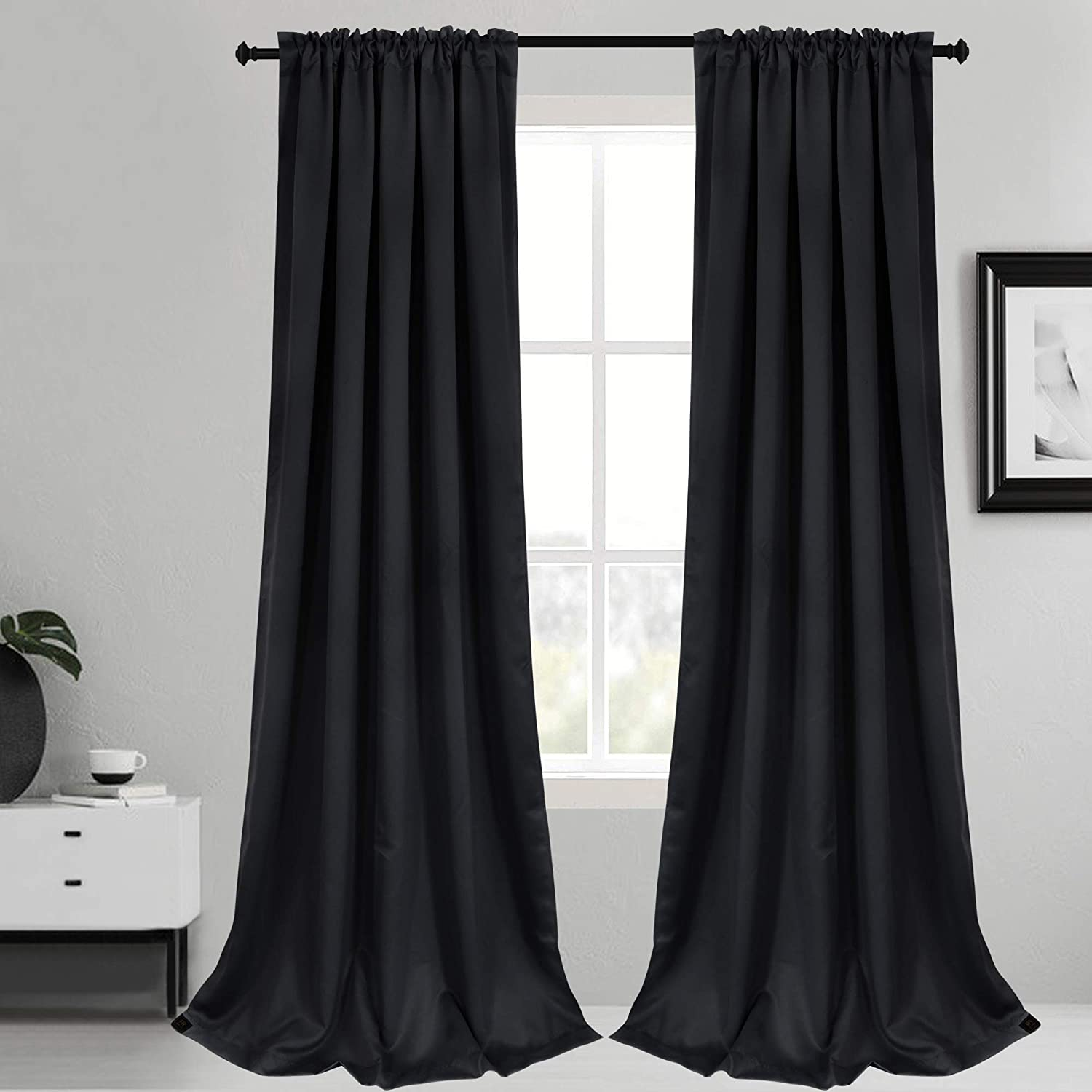 Inherent Flame Retardant Blackout Rod Pocket Curtains Fire Resistant Room Darkening Thermal Insulated Drapes for Bedroom Living Room School Office Nursery Theater Hospital 2 Pack Black 56Wx96L