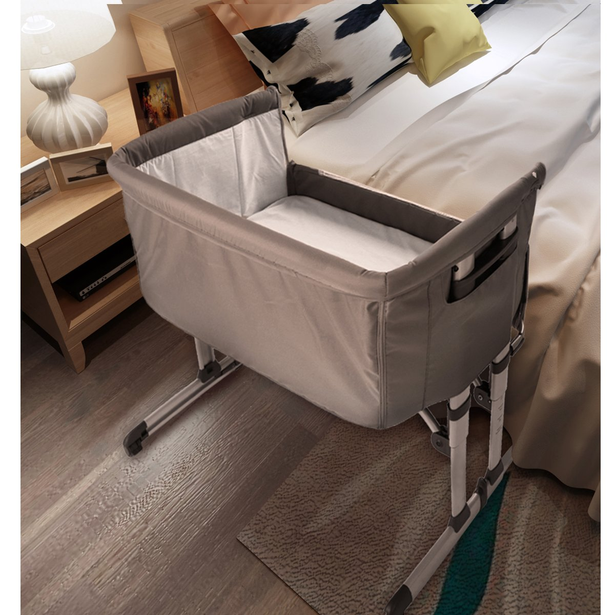 Baby Travel Cot Sleeper Bedside Co Sleeping Crib Bed Bedding Bassinet Folding Adjustable Portable with Matress (Pink) Wellgarden