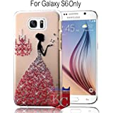 KC Beautiful Girl Wearing 3D Butterfly Wedding Dress Soft Transparent Case Back Cover for Samsung Galaxy S6 - Red