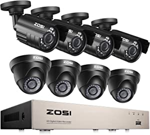 ZOSI H.265+ 1080p Home Security Camera System Indoor Outdoor, 5MP Lite CCTV DVR 8 Channel and 8 x 1080p Weatherproof Surveillance Bullet Dome Camera, Remote Access, Motion Detection (No HDD)