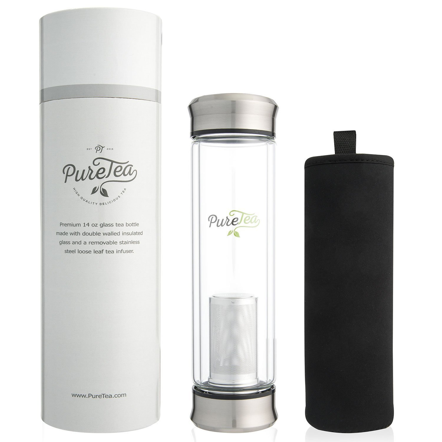 PureTea Tea Infuser Bottle w/Sleeve - Tea Infusers for Loose Tea - NEW & Improved Loose Leaf Tea Cup + Stainless Steel Strainer Filter - Perfect Glass Travel Water Mug - 14oz Infuser w/Sleeve