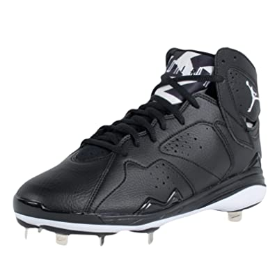 Jordan Mens 7 Retro Metal Baseball Cleats Black/White Size 12