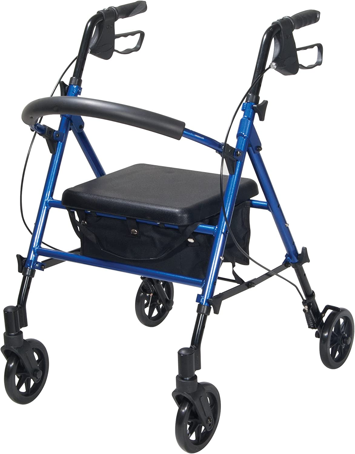 Drive Medical Adjustable Height Rollator with 6 Inches Wheels, Blue 71eLPZx3F9L