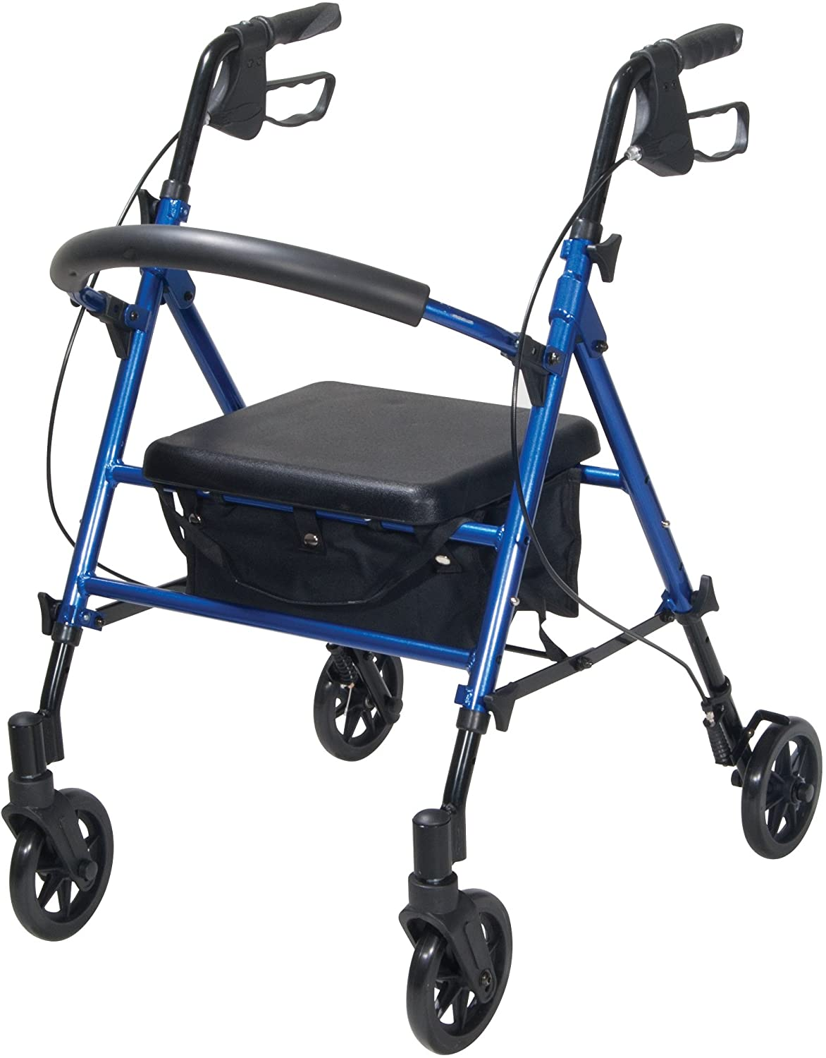 Drive Medical Adjustable Height Rollator with 6 Inches Wheels, Blue