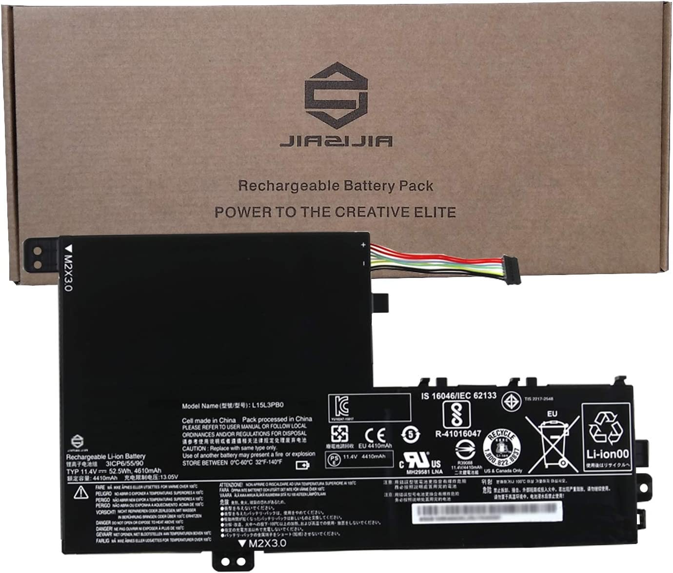 JIAZIJIA L15L3PB0 Laptop Battery Replacement for Lenovo Flex 5 1570 1470 IdeaPad 320S-14IKB 320S-15ABR 320S-15AST 320S-15IKB 320S-15ISK 520S-14IKB Series L15M3PB0 Type-A 11.4V 52.5Wh 4610mAh 3-Cell
