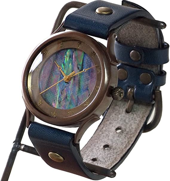 (ヴィー) vie 手作り腕時計 メイドインジャパン シリーズ 和時計 螺鈿文字盤 Lサイズ (受注制作) (茄子紺)