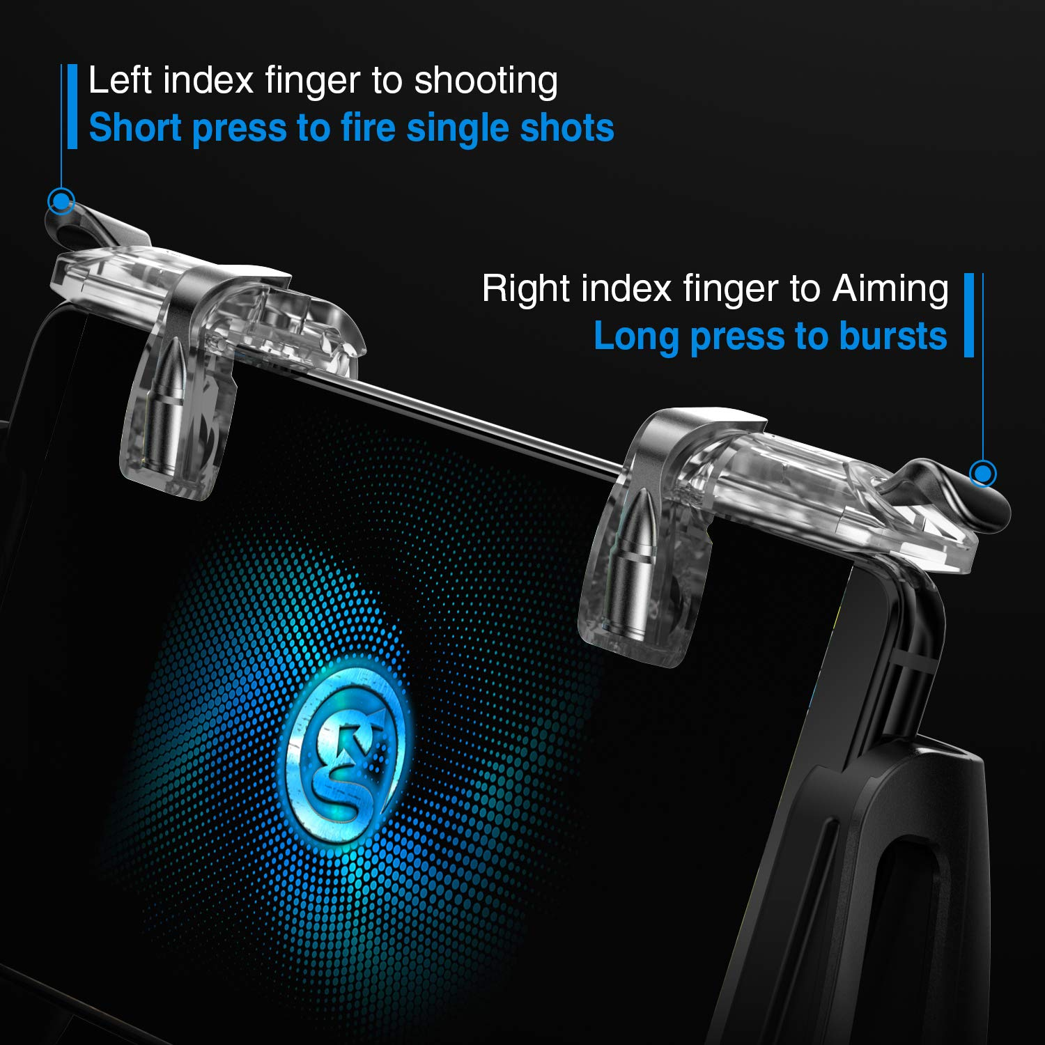 GameSir F2 Mobile Game Controller Sensitive Shoot Fire and Aim Buttons for PUBG Firstick Protective Case for 4.5in-6.4in Android IOS Phone Grip
