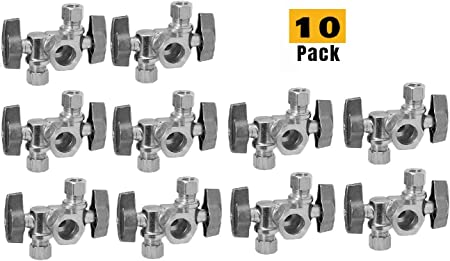 "10 x 3//8/"" OD Compr 5//8/"" OD Compr Angle Outlet Stop Valves LEAD-FREE 1//4-Turn"