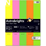 "Astrobrights Color Paper, 8.5"" x 11"", 24 lb / 89 gsm, ""Neon"" 5-Color Assortment, 500 Sheets"