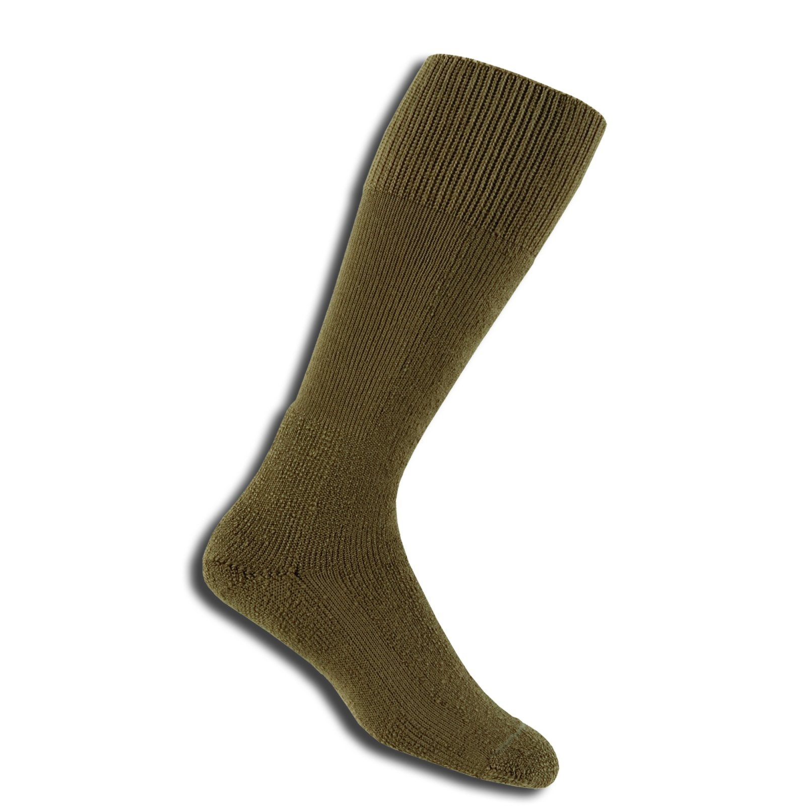 Thorlos Thick Cushion Combat Boot Over Calf Sock Size: M, Med Brown with a Helicase Sock Ring