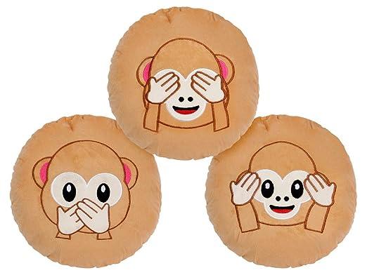 Emoji Cojín Monos tapándose Ver Decir - Cojín decorativo ...