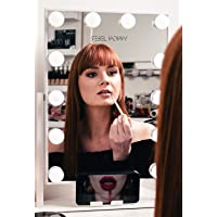 Vanity Mirror With Lights and Phone Mount - Hollywood Style Makeup Vanity Mirror with Lights 12x3W Dimmable LEDs with Touch Control, Clock and Phone Cradle   Tabletop Lighted Cosmetic Mirrors (White)