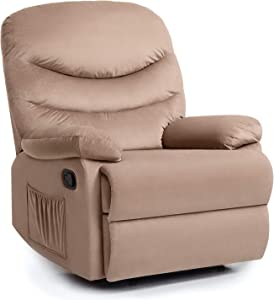 Pawnova Wing Back Massage Recliner Chair, Adjustable Home Theater Seating, Soft Padding Single Sofa for Living Room,Beige