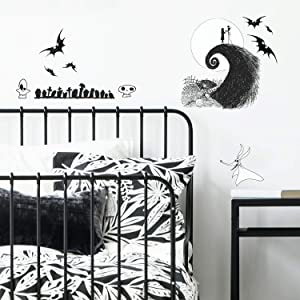 RoomMates The Nightmare Before Christmas Jack And Sally Peel And Stick Wall Decals | Black Wall Stickers