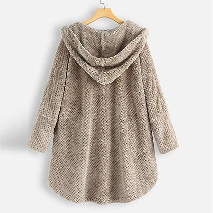 KPPONG kurtka zimowa damska jednokolorowa płaszcz miękki guzik design podszewka misia kurtka z kapturem outwear kurtka przejściowa parka: Odzież