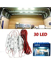 AMBOTHER 30 LED White Interior Lights Lamp Kit Loading Light For LWB Van Trailer Lorries with LED Project Lens 12V (10 Modules)