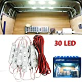 AMBOTHER 30 Led Auto Interni Kit,Esterno Camper/Camion Soffitto Illuminazione Luce Kit per Lettura, Impermeabile, DC12 V