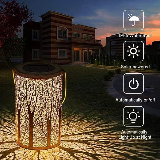 LED Luz Colgante Solar del Jardín, MMTX Lámpara Solar al aire libre| Luces de Linterna con Diseño de Marruecos IP56 Impermeable Recargable Portátil para Camping, Jardín, Patio, Terraza, Camino: Amazon.es: Iluminación