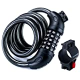 Kungix Security Bike Lock 1.2m Steel Chain Cable Coiling Code Combination for Bicycle Cycling Riding Outdoors