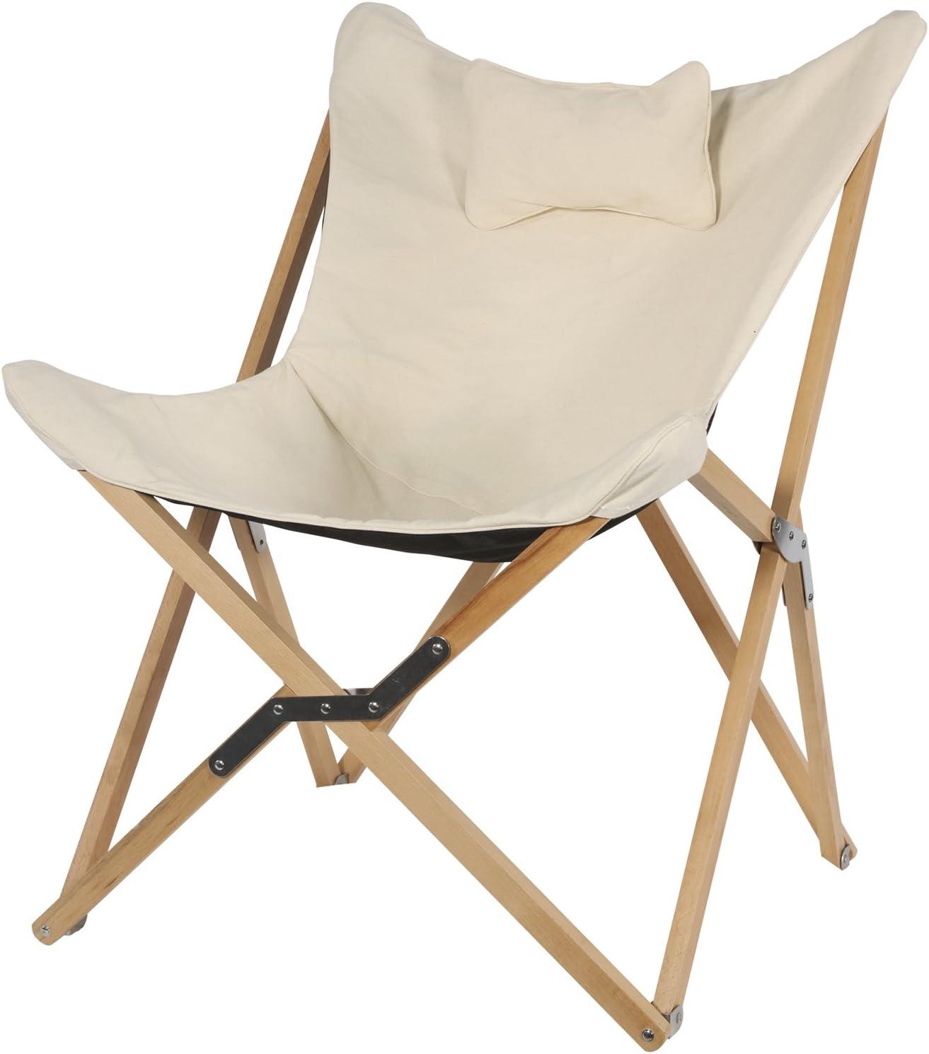 Lesli Living Sillón Naturel Estructura de Madera Plegable Mariposa Silla sillón (99x 73x 81