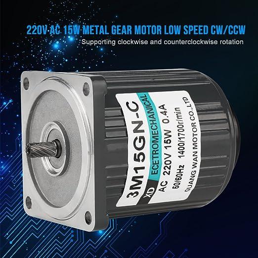 220V AC 15W Gran Momento del Motor de Engranaje de Fuerza de Metal Baja Velocidad CW//CCW