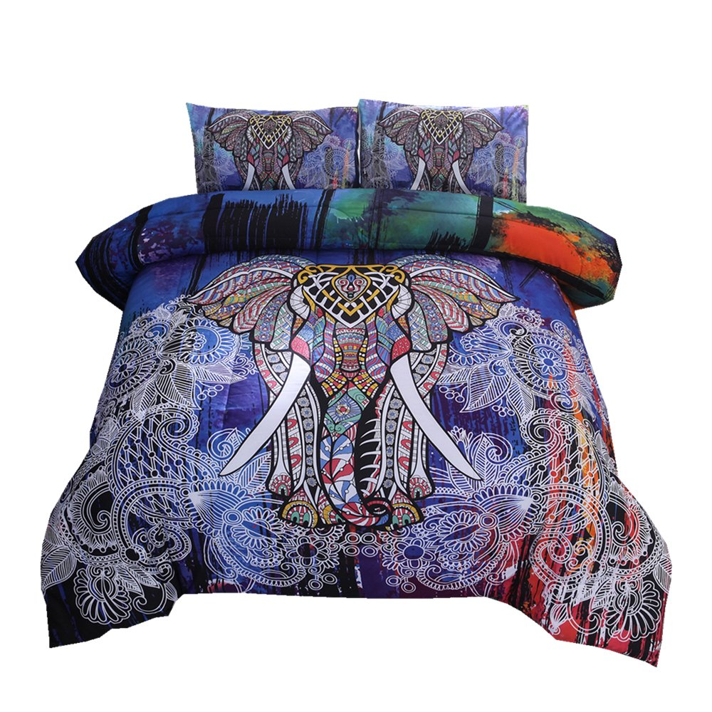 NTBED Bohemian Comforter Set Queen 3-Piece Microfiber Bedding Exotic Elephant Boho Mandala Quilt Sets, Multi by NTBED (Image #1)